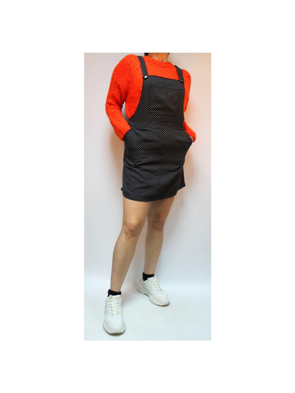 černá laclová sukně s puntíky