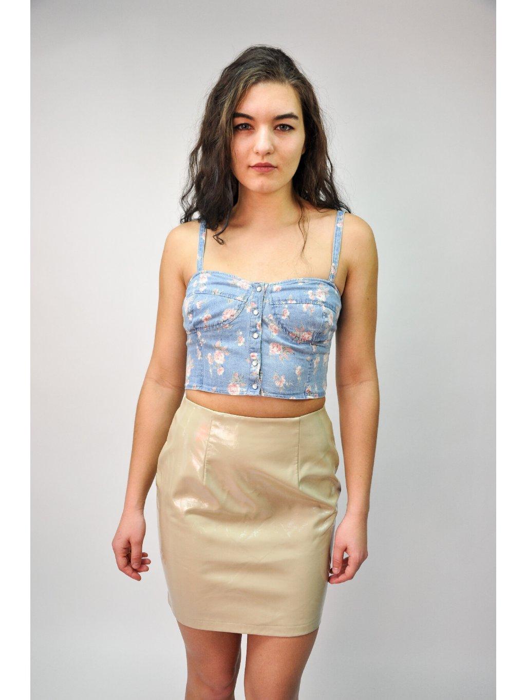 lesklá béžová sukně