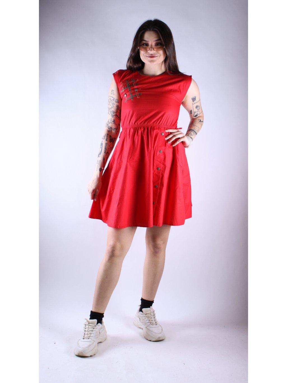 červené vintage šaty se zapínáním na ramenou