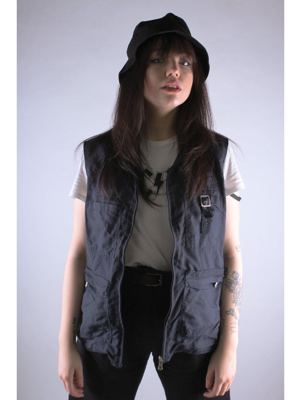 modrá jarní hipster vesta s přezkou