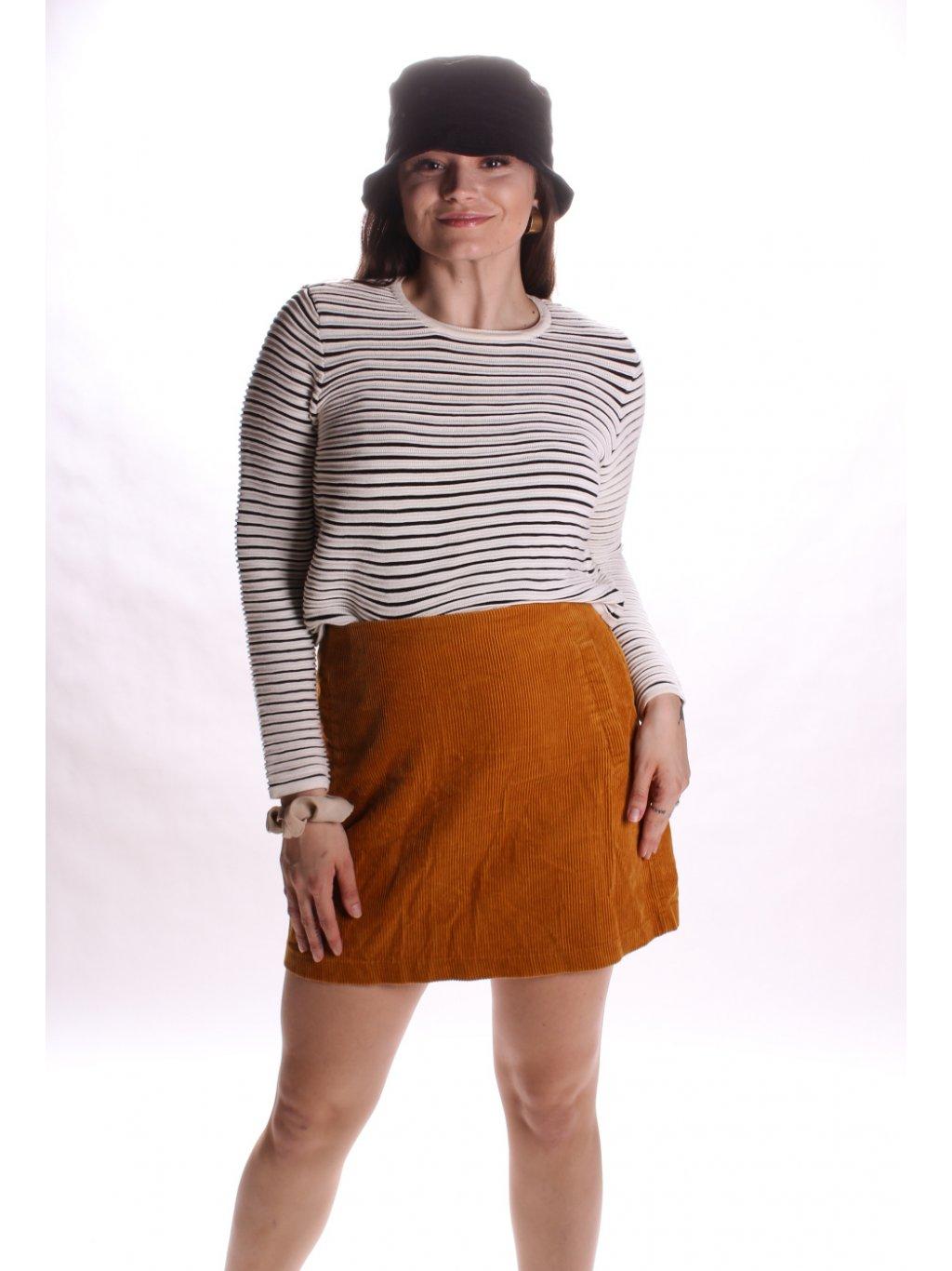medová manšestrová sukně