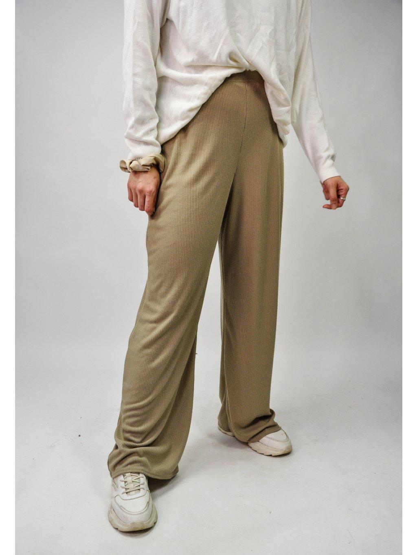 žebrované olivové kalhoty na gumu