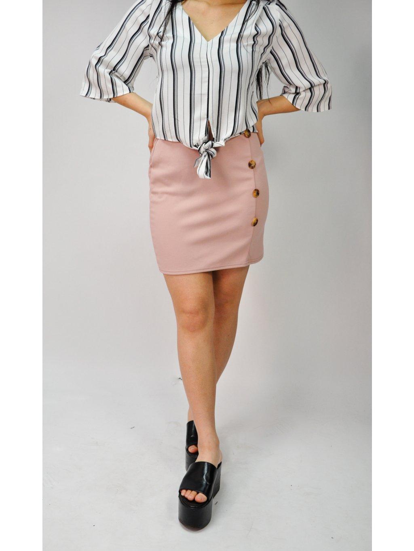 staro růžová sukně s knoflíky
