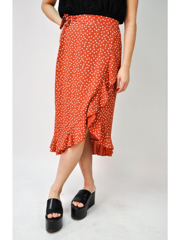 cihlová sukně s tečkami
