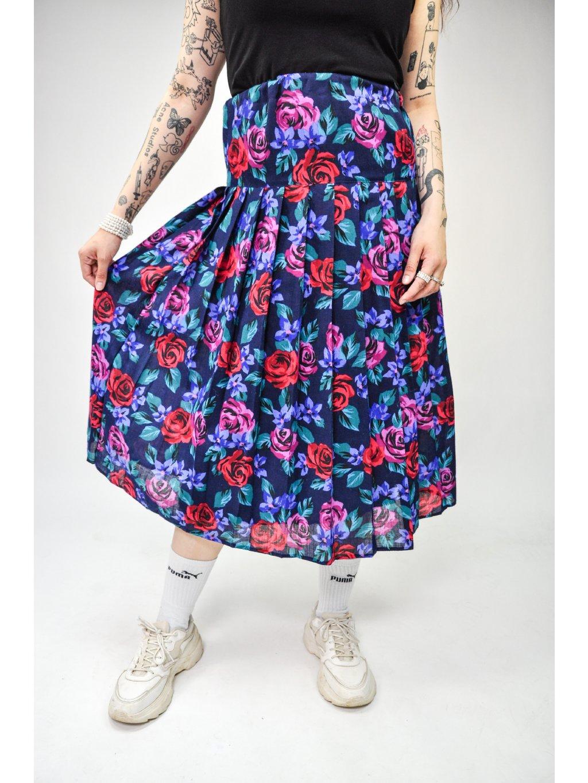 modrá vintage sukně s růžemi