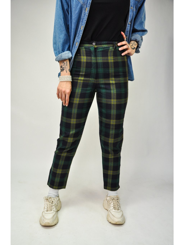 zelené káro vintage kalhoty s řetízkem