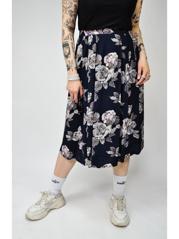 modrá vintage midi sukně s květy