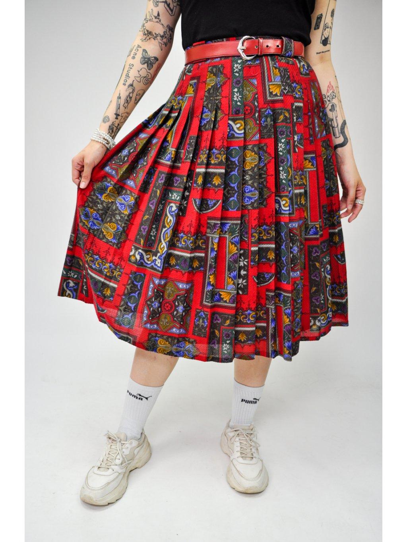 červená vintage sukně s páskem