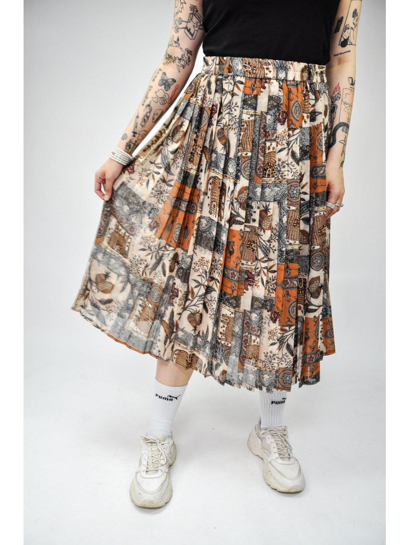 vintage boží sukně se vzorem na gumu
