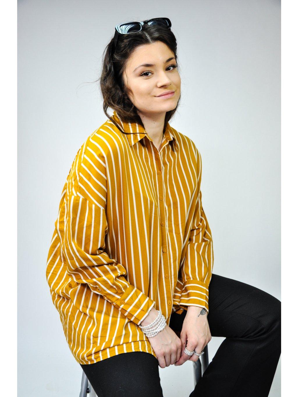 hořčicově žlutá pruhovaná košile ze Spencra