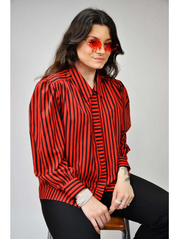 černočervená pruhovaná vintage košile