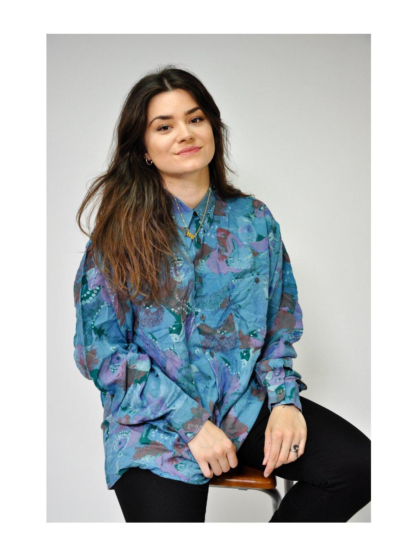 modro fialová vintage košile