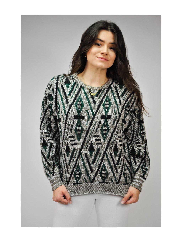 zeleno šedý vintage svetr