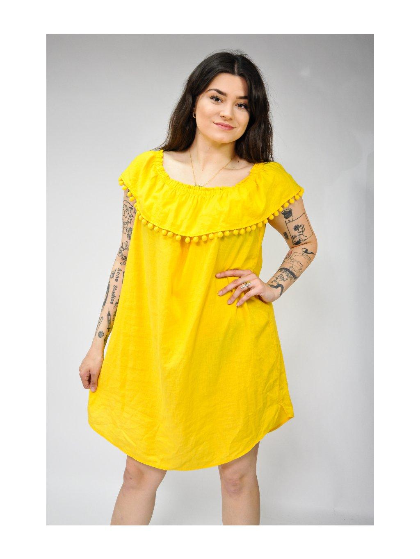 žluté šaty na ramena