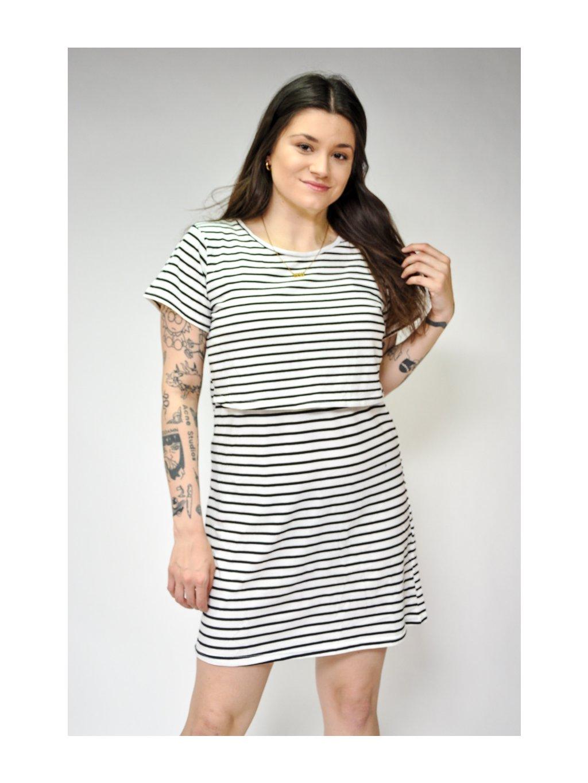bílo černé pruhované šaty