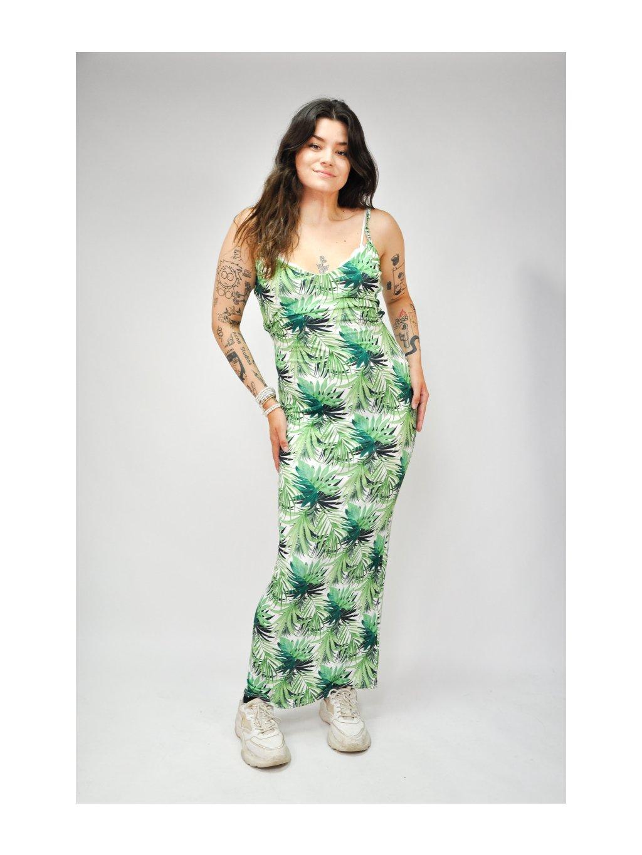 zelené šaty s listy