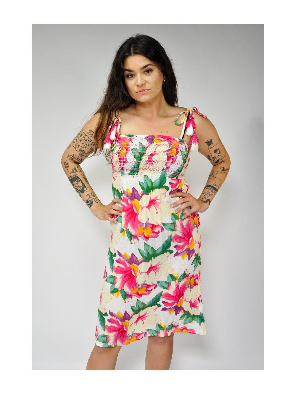 šaty s květy a žabičkováním