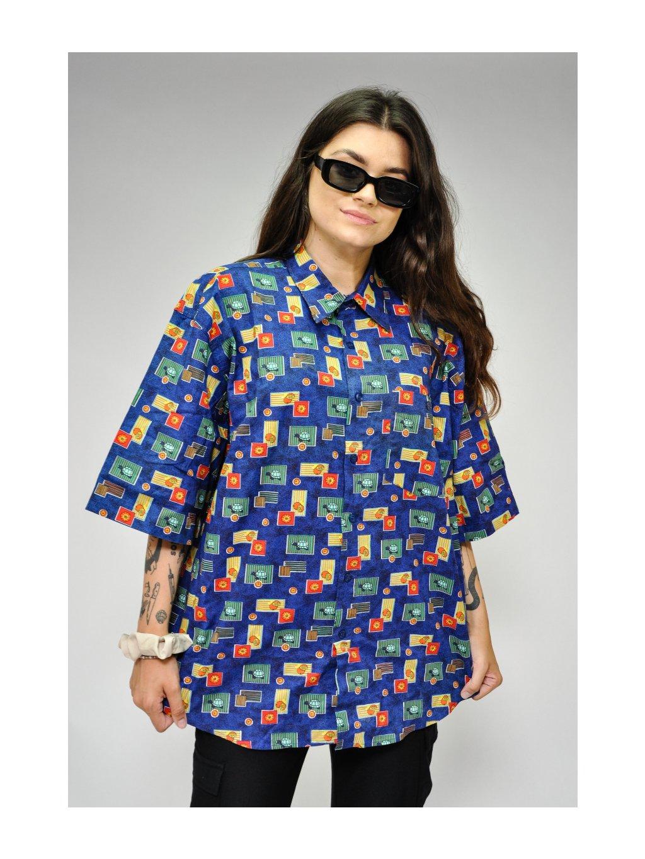 tmavě modrá vintage košile s želvičkami