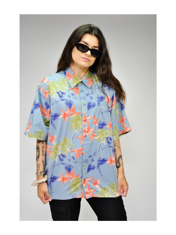 světle modrá vintage košile s barevnými palmami