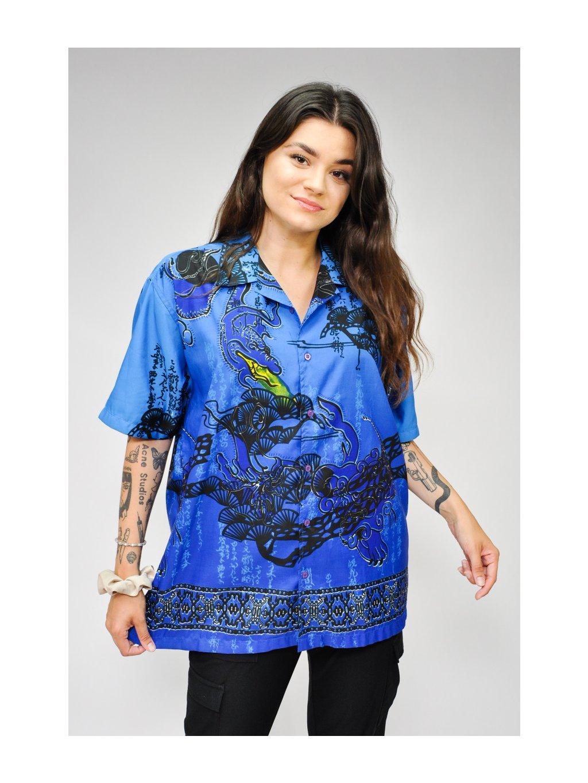 modrá vintage košile s vzorem