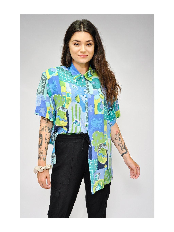 modro zelená vintage košile