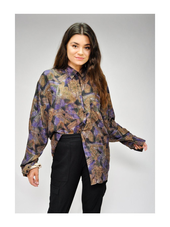 fialovo hnědá hedvábná košile