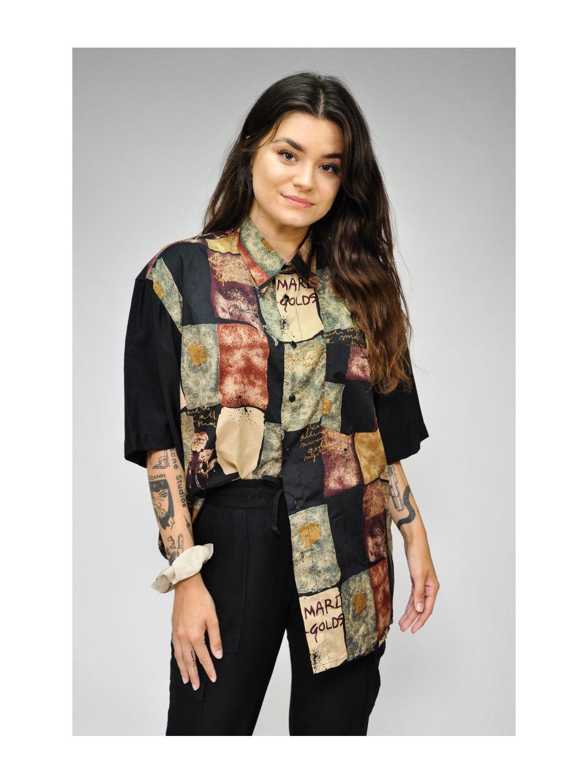 tmavá vintage košile se vzorem