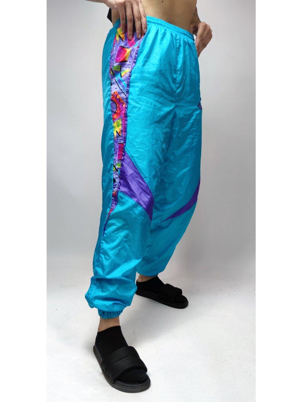 modré vintage šusťákové kalhoty