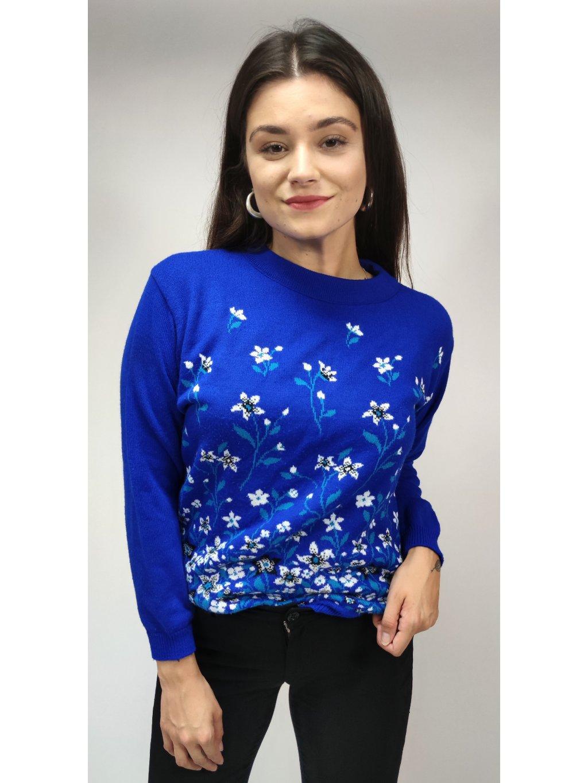 modrý vintage svetr s kytičkami