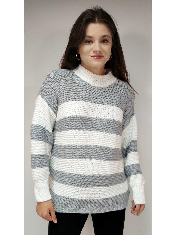 bílo šedý pruhovaný svetr