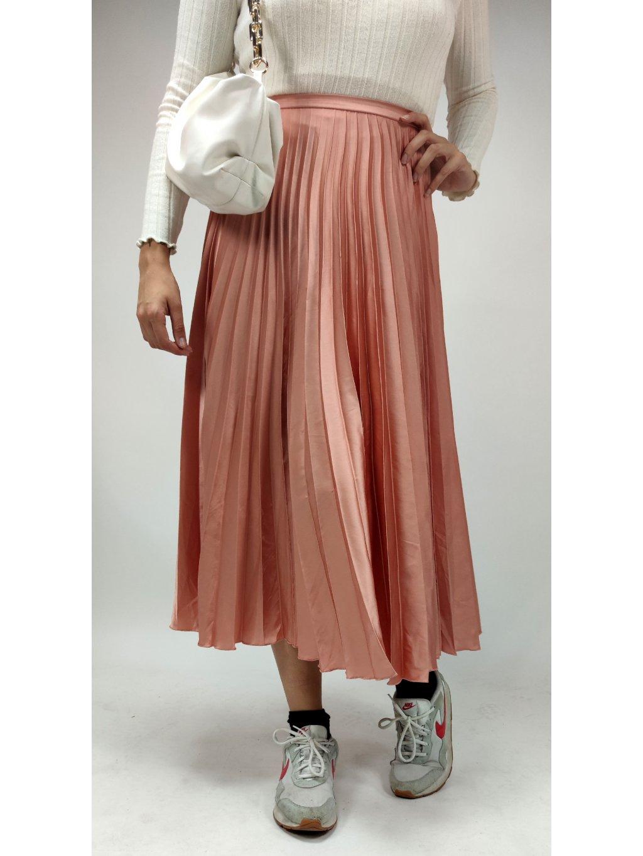 růžová skládaná sukně ASOS