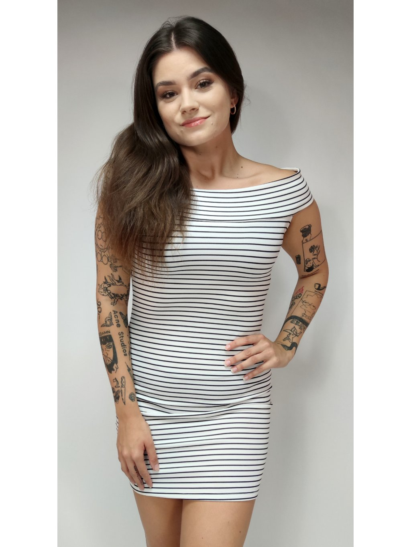 pruhované šaty na ramena MANGO