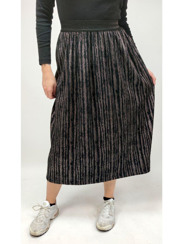 skládaná stříbřitá sukně na gumu