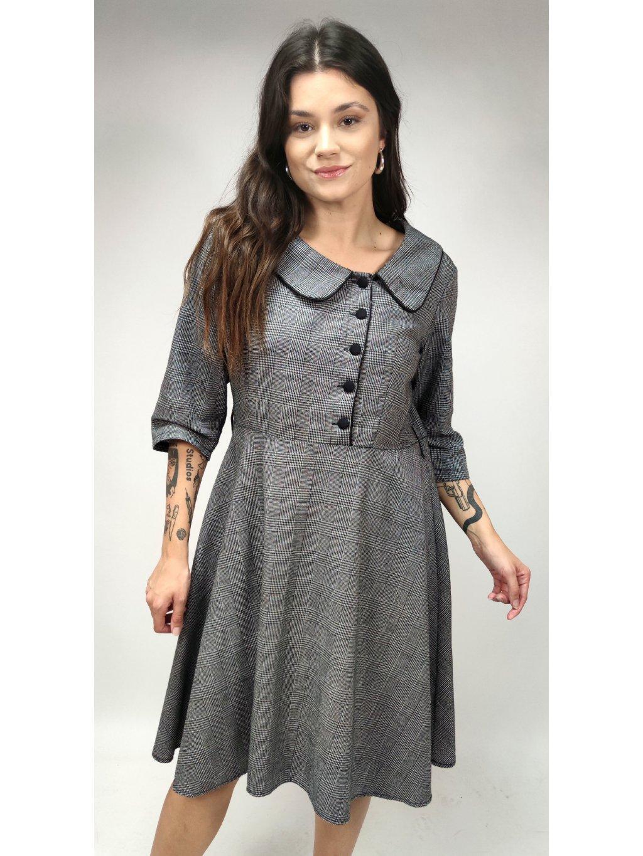 šedé kárované podzimní šaty