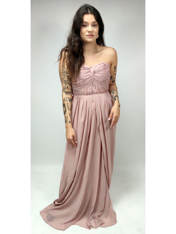 pudrové plesové šaty