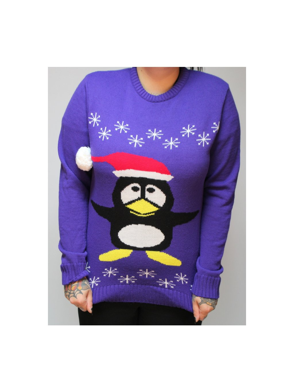 fialový vánoční svetr s tučňákem