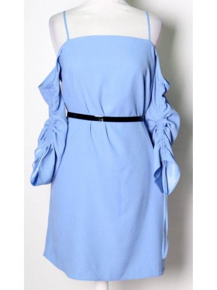 modré šaty s nastavitelnými řasenými rukávy