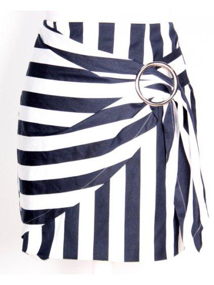 pruhovaná sukně s kovovou sponou