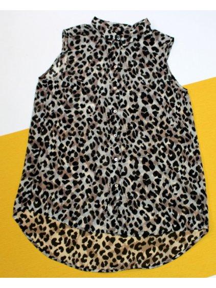 Leopardí lehce průsvitná halenka bez rukávů