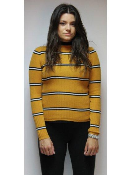 hořčicový svetr s pruhy