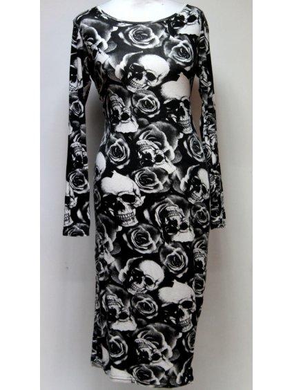 šaty s růžemi a lebkami