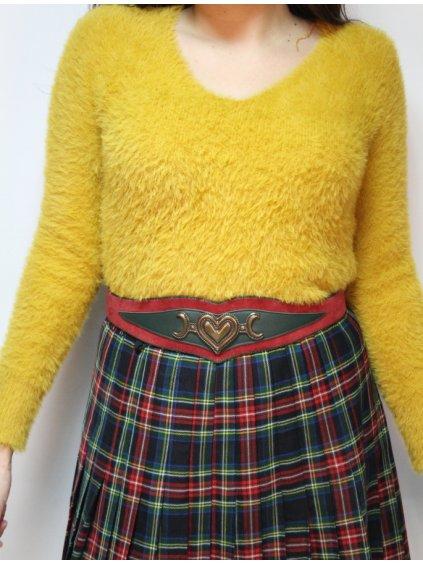 hořčicový chlupatý svetr