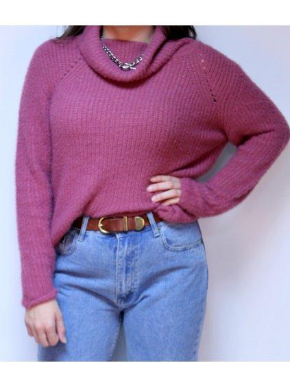starorůžový teplý svetr s rolákem