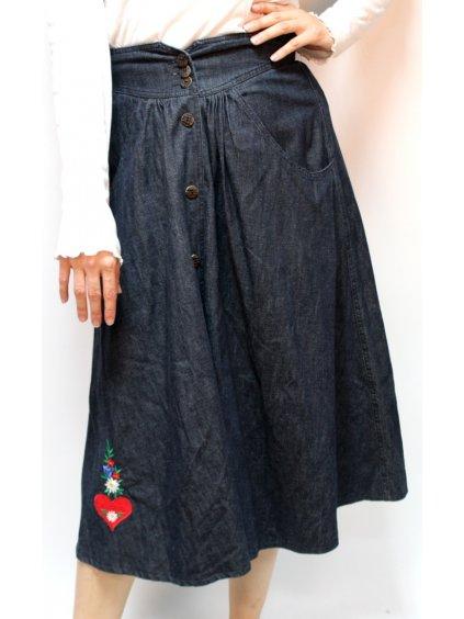 vintage midi sukně s kapsami