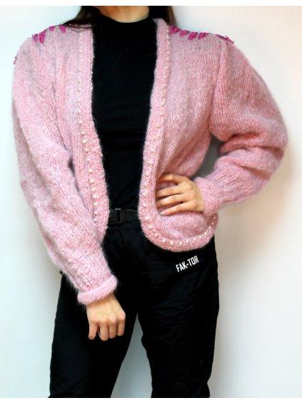 růžový vintage zdobený svetr