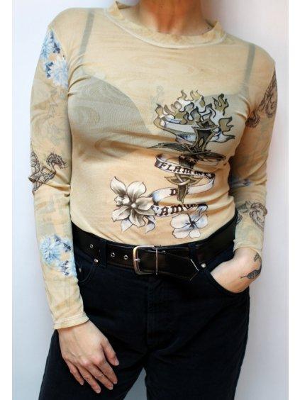 síťované béžové tričko