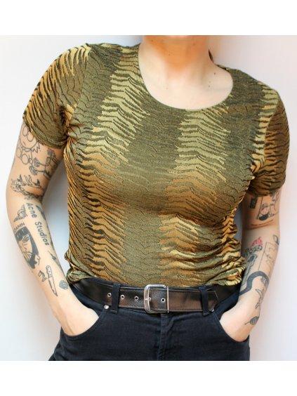 hnědo zlaté tričko se vzorem