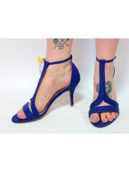 modré sandály na podpatku