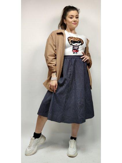 pruhovaná modrá sukně