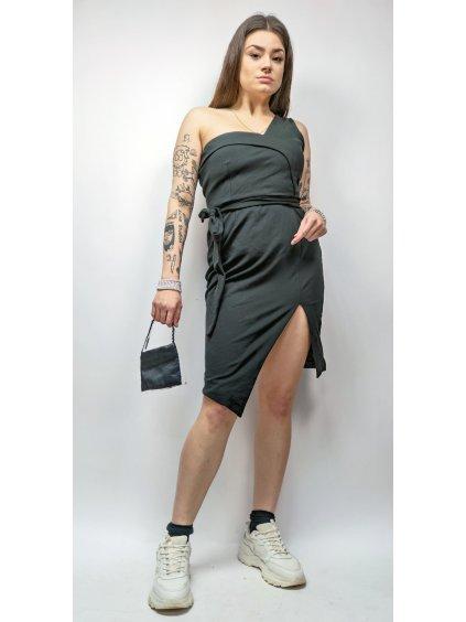černé boží šaty na jedno rameno